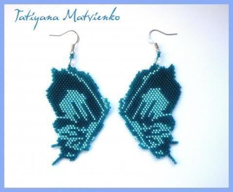 Бабочки-сережки из бисера схема